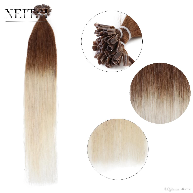 Neitsi 20inch Pre Bonded U Nail Tip Straight Fusion Remy Human Hair