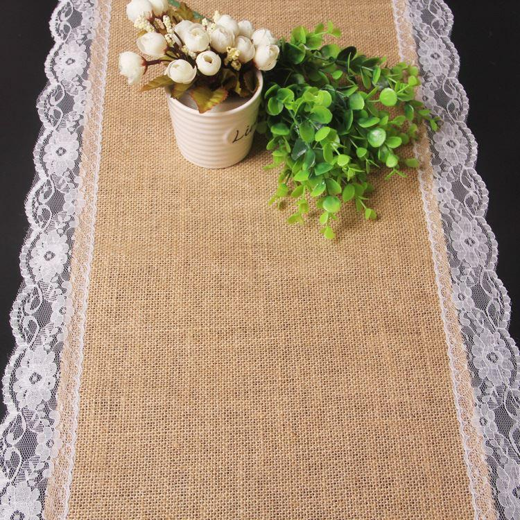 30*180cm Beautiful Burlap Edge Flower Lace Table Runner Outdoor Wedding  Decoration Linen Table Runner Natural Jute Home Decor Dhl Easter Table  Runners ...