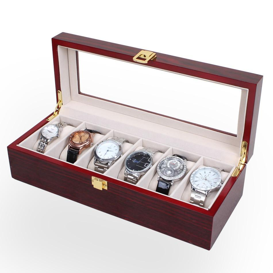 6 Grids High Grade Wooden Sell Display watch box& Jewelry Box China Packaging Factory Supply May Customize