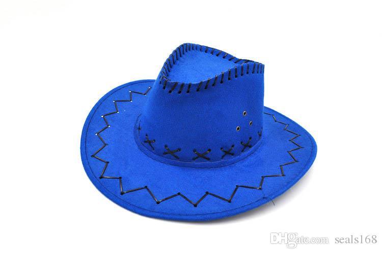 Cowboy Hut New Wildleder Look Wild West Kostüm Herren Ladys Cowgirl Unisex Erwachsene Frauen Männer Kinder Visor Knight Wide Brim Hüte HH7-212
