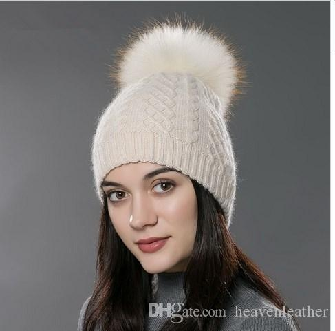 85e195570c4 FUR Winter Fur Pompom Hat For Women Cashmere Wool Cotton Hat Big Real  Raccoon Fur Pompom Beanies Cap Fox Fur Bobble Hat Hat Hats From  Heavenleather