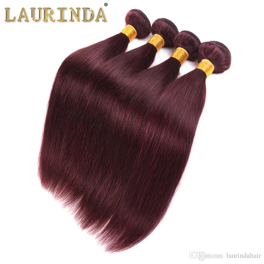 Brasilianisches Wein-rotes seidiges gerades Menschenhaar 3 Bündel mit frontaler 13x4 Burgunder-99J Jungfrau-Haar-Erweiterungen mit oberer Frontalschließung