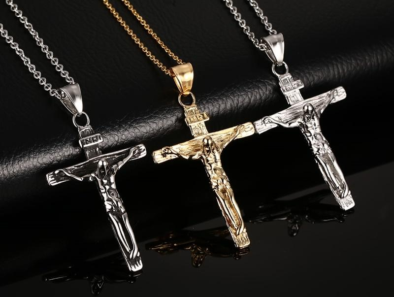 New Cross Pendants Necklaces for Women/Men 18K Gold/Black/Silver Plated Stainless Steel Jesus Pendant Vnox Jewelry Free Chain 50cm