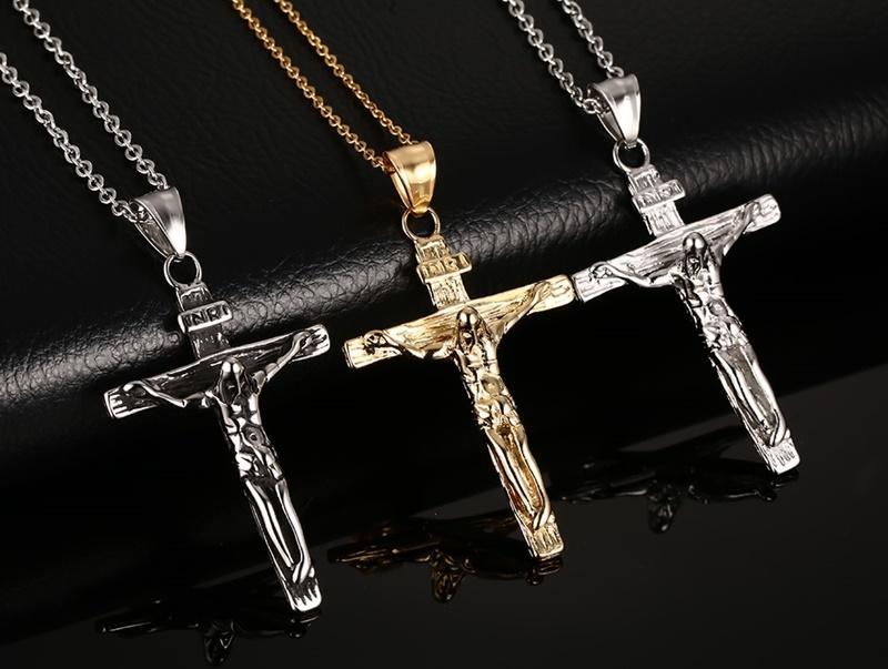 Nueva Cruz Colgantes Collares para Mujeres / Hombres 18 K Oro / Negro / Plateado Acero Inoxidable Jesús Colgante Vnox Joyería Cadena Libre 50cm