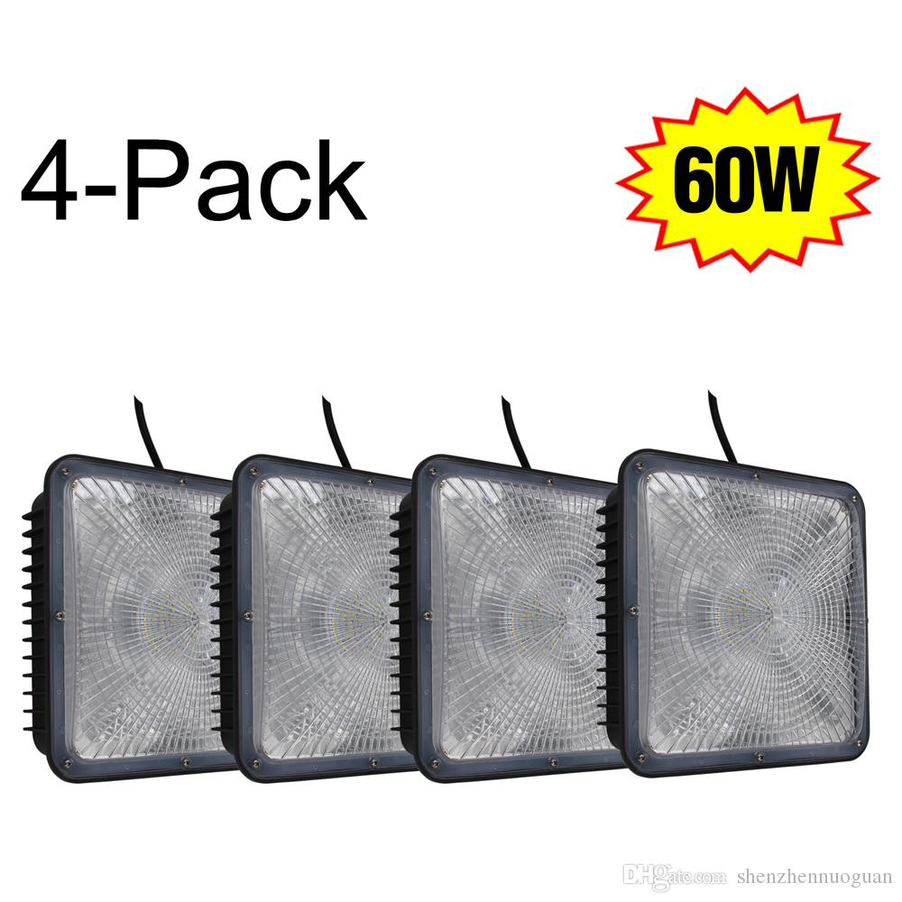 4 pack 60w led canopy light fixture retrofit 250w hid ceiling gas 4 pack 60w led canopy light fixture retrofit 250w hid ceiling gas station garage lights 10x10 5000k daylight pir led floodlight led outside flood lights arubaitofo Images