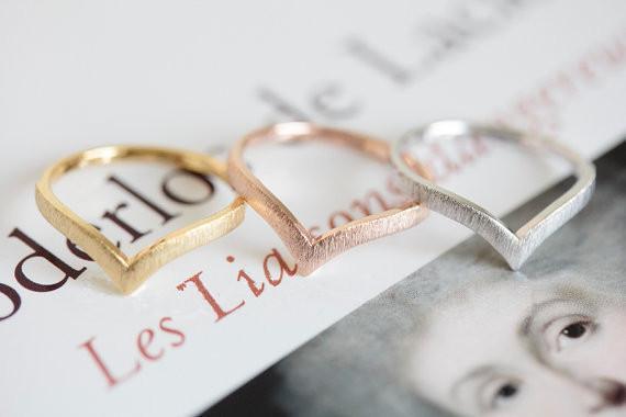Bijoux Minimalisme Anillo 2016 or / argent / or rose anneau V accessoires antiques joints de chevron pour hommes et femmes