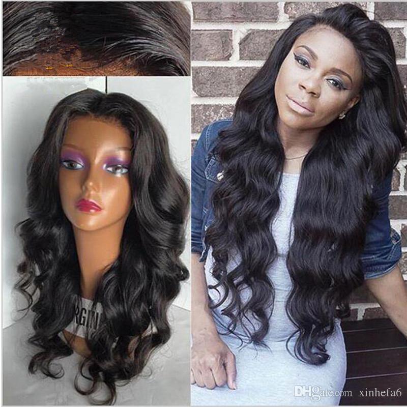 Siyah Kadın Saç Ile ucuz Dantel Ön Peruk Islak Ve Dalga Toptan Gevşek Dalga Tam Dantel Peruk Doğal Siyah Renk Saç