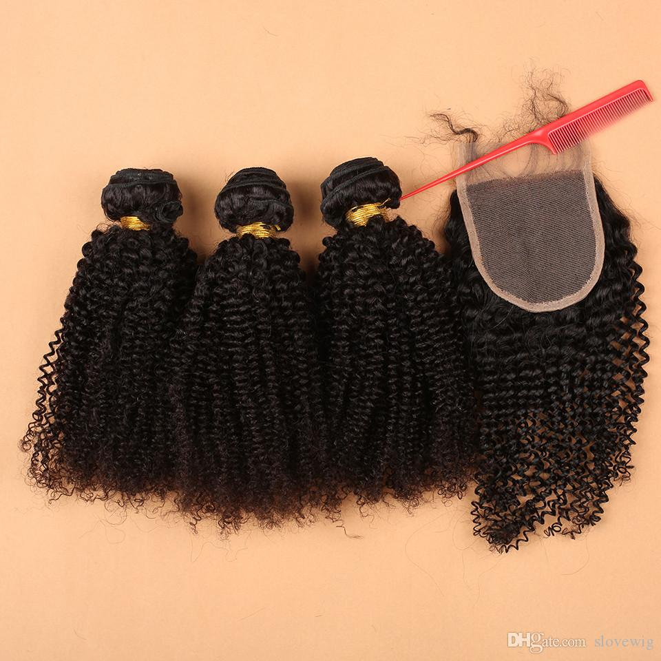 Supply brazilian hair kinky curly hair weave,hair bundles with lace closure,1piece free part lace closure with 3/4bundles hair wefts