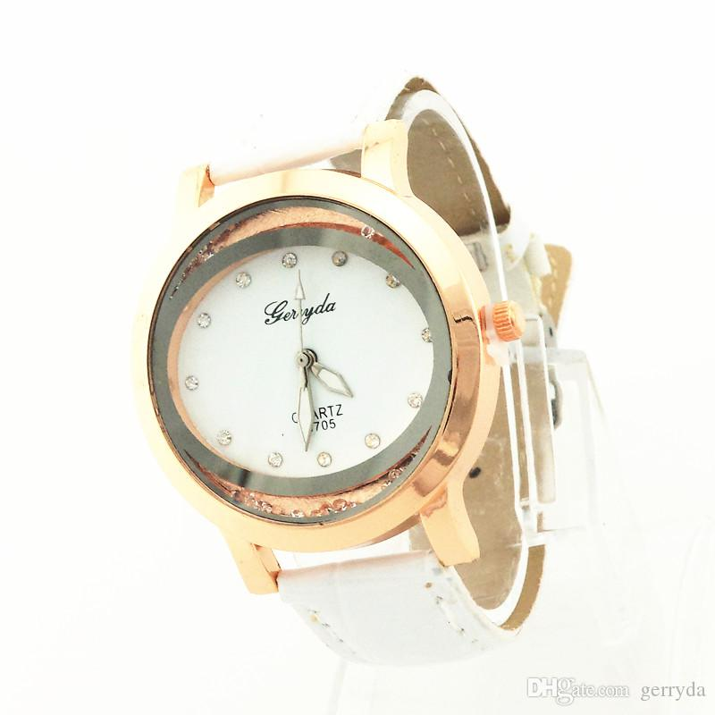 !PVC leather band,gold plate case,moving sand stone under glass,quartz movement,Gerryda fashion woman lady leather watches 705