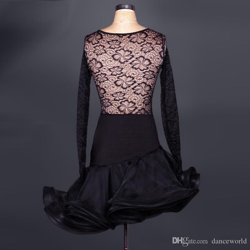 2018 Adulte / Enfant Robe De Danse Latine Noir / Rose Cha Cha / Rumba Femmes / Filles Costume De Danse Du Dentelle Dentelle Lulu Jupe Robe De Baile Latino