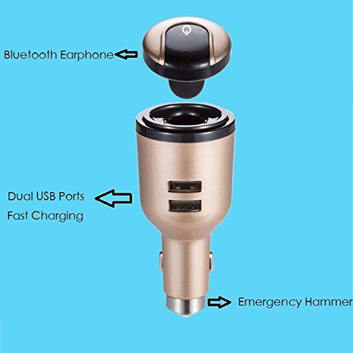 Hot IVLWE 3 in 1 Dual USB Smart Autoladegerät Drahtlose Bluetooth 4.1 Kopfhörer Headset Notfall Safe Hammer Eingebautes Mikrofon für iPhone
