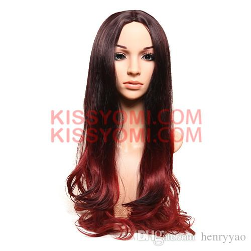 Synthetic Hair Women Cheap Wigs Long Body Wave Medium Side Black Ombre Red Wine Lolita Drag Party Celebrity Wig