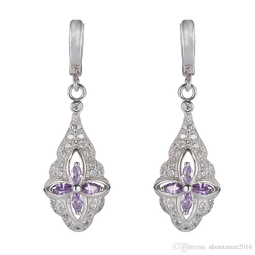 925 sterling silver Hot Earrings Promotion S-3708 Light purple Cubic Zirconia Best Sellers Time limited discount Christmas gift Rave reviews