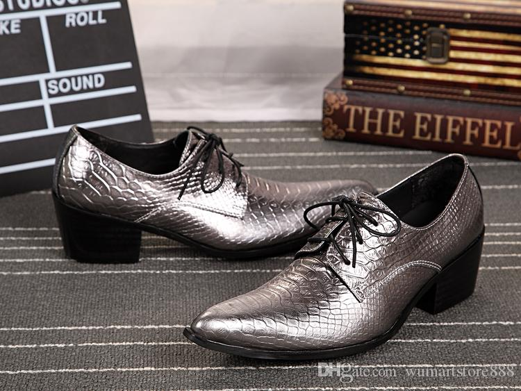 Shinny gold soft leather high quality men's dress shoes, lace up men's dance party plus size business shoes