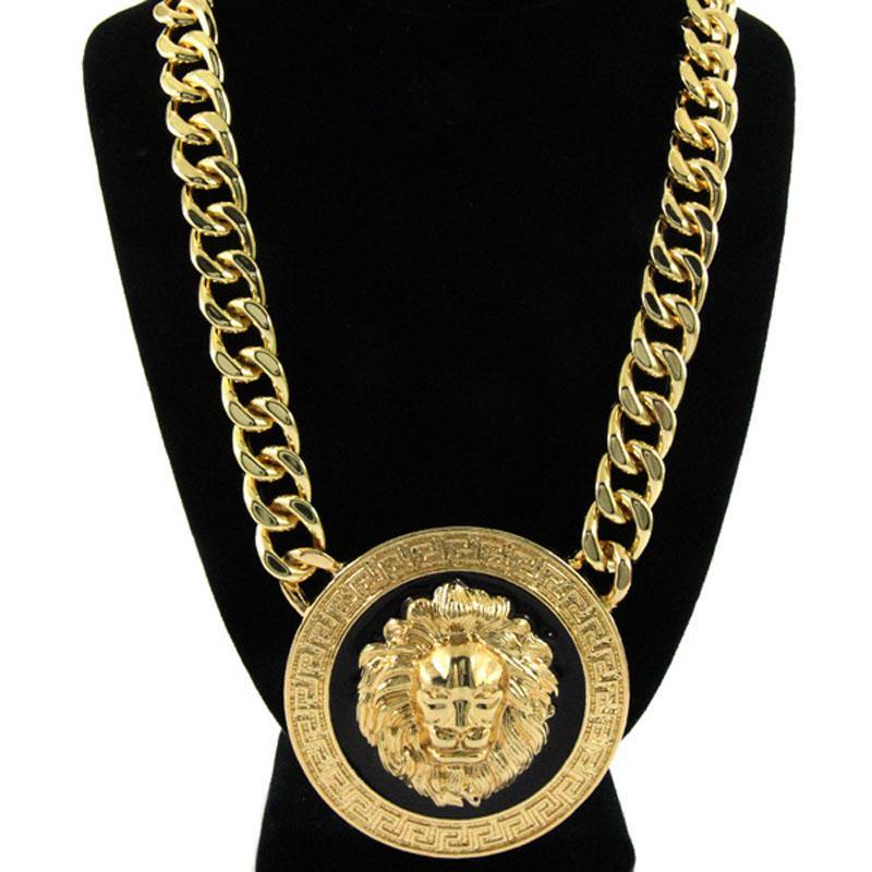 бесплатная доставка горячей продажи мода женщины девушка панк Винтаж золото широкая цепь Лев голову Аватар ожерелье Рианна стиль