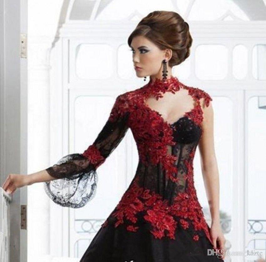 Vintage preto e vermelho vitoriano gótico masquerade vestidos de festa à noite do dia das bruxas 2018 buraco da fechadura de manga comprida vestido de baile Plus Size