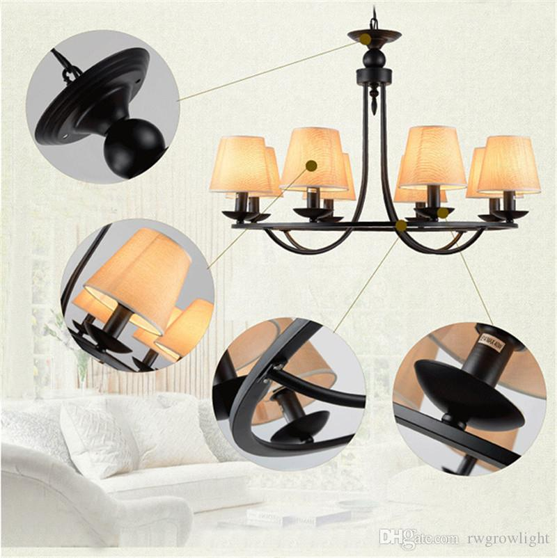 L76-Nordic Minimalista País Americano Vela de hierro Colgante LamP Retro Sala de estar creativa Restaurante Dormitorio 4/6/8 Lámparas de cabeza,