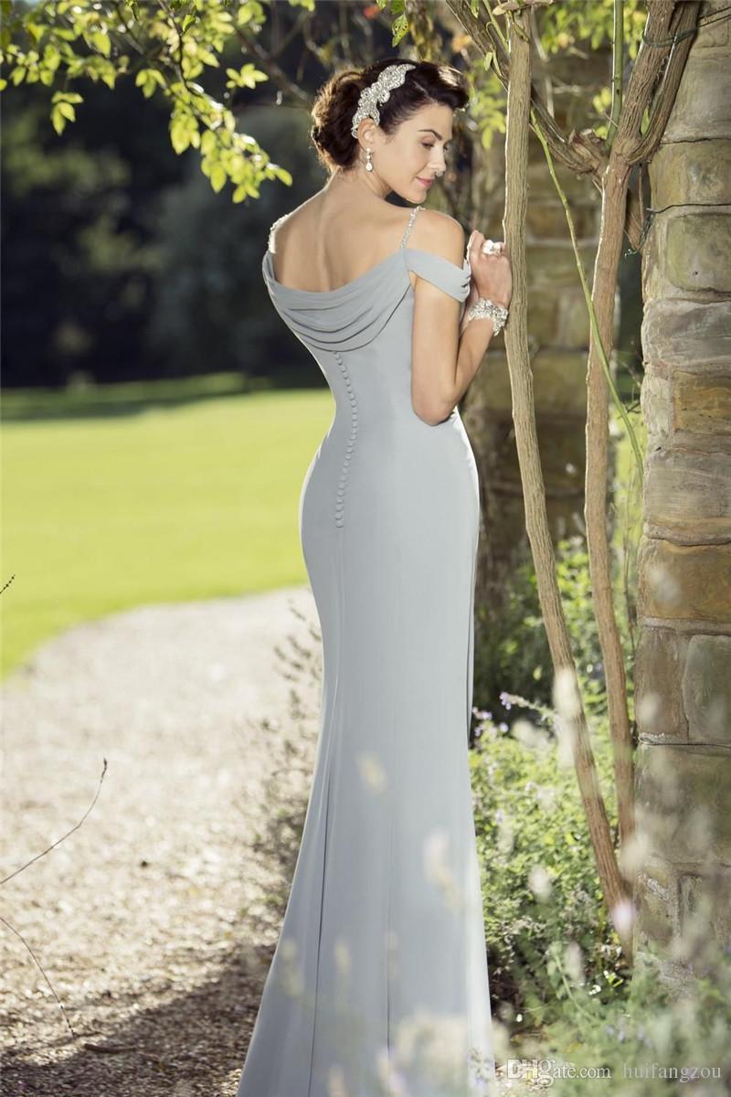 Simples Verdadeira Noiva Mãe Fora Do Noivo Da Noiva Vestidos de Espaguete Até O Chão Chiffon Mãe Da Noiva Vestido Sem Mangas Vestidos de Noite