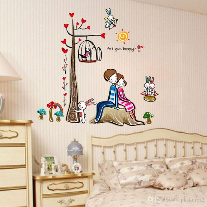 romantic couple tree wall stickers three generations living room