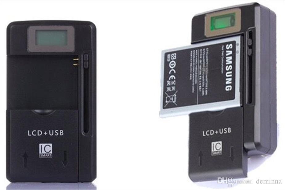 Universal tela de lcd usb bateria do telefone ac li-ion home parede doca carregador de viagem samsung galaxy s3 s4 s5 nota 4 nokia, huawei cellphone