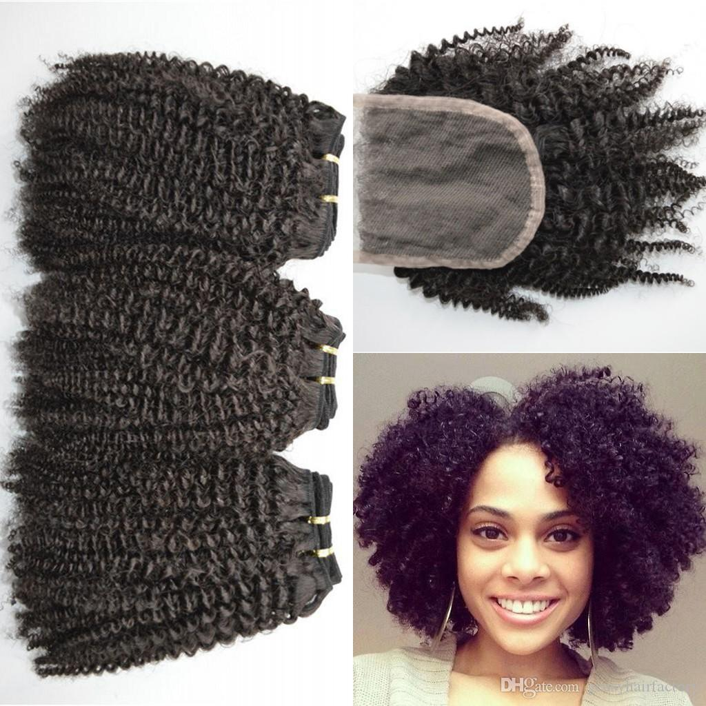 4a4b4c Afro Kinky Curly Human Hair Weave Bundles With Lace Closure
