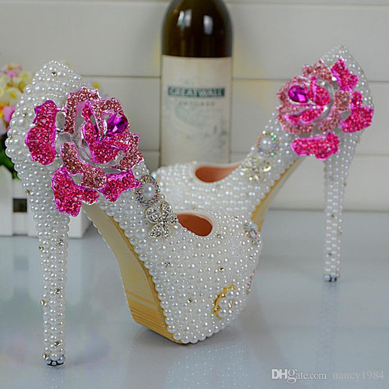 2019 À La Main Soulmate Modèle Blanc Perle Chaussures De Mariage Rose Fleur Style Strass Femmes Pompes Demoiselle D'honneur chaussures Taille 34-45