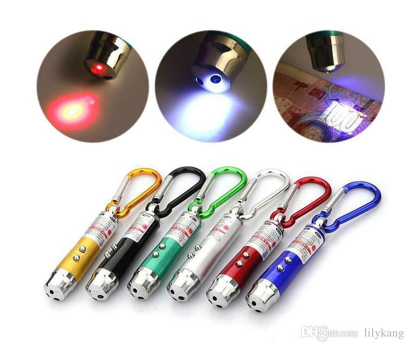 3 in 1 Kırmızı Lazer Pointer Kalem Led kırmızı Işık Torch Anahtarlık Işın Lazer Pointer fenerleri komik pet köpek kedi oyuncak Para Dedektörü Anahtarlık