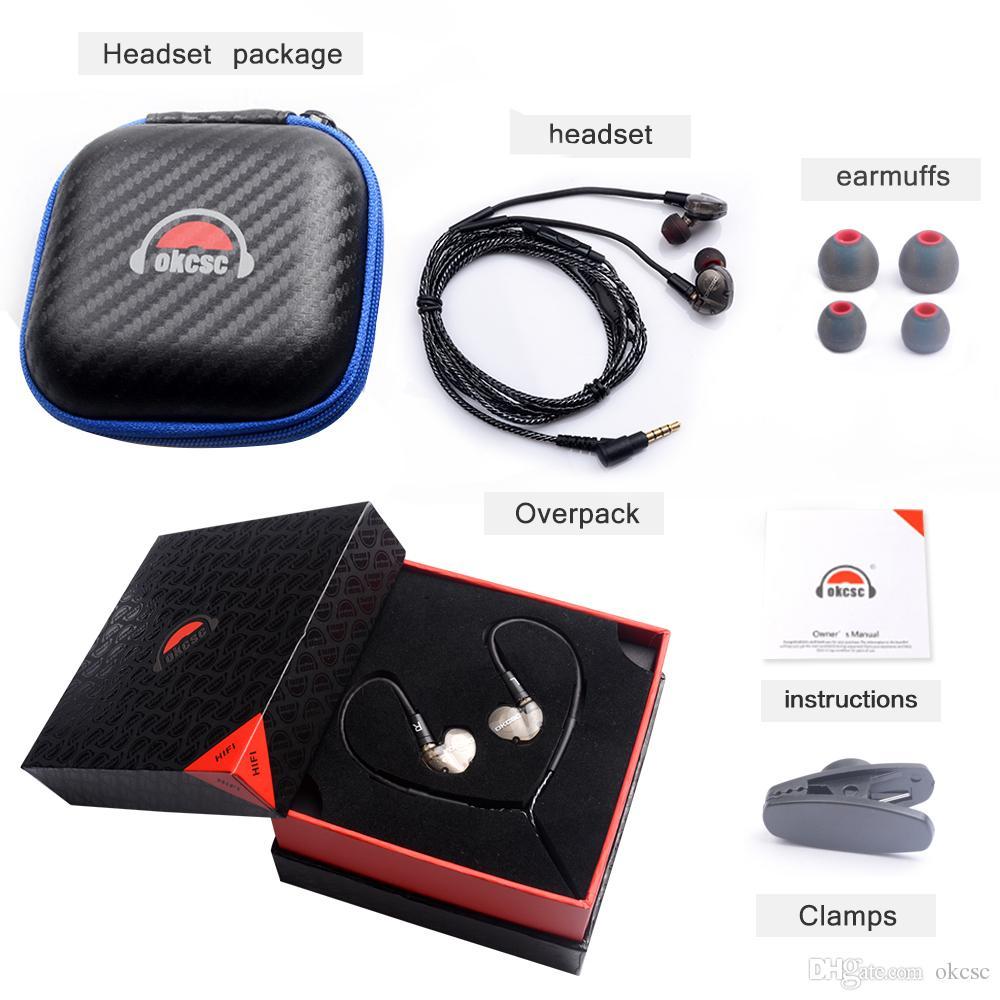 OKCSC DD3 Hi-Fi Гибридный Динамический 1BA + 1DD DIY Наушники Спортивные Наушники С Микрофоном Естественный Звук Может Изменить Кабель