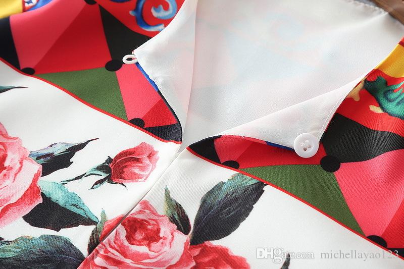 Milan Runway Vestido 2017 O Cuello Manga Larga Vestido Largo de Las Mujeres Rosas Rojas Estampado Corte Lateral Suelte Maxi Vestido DH029
