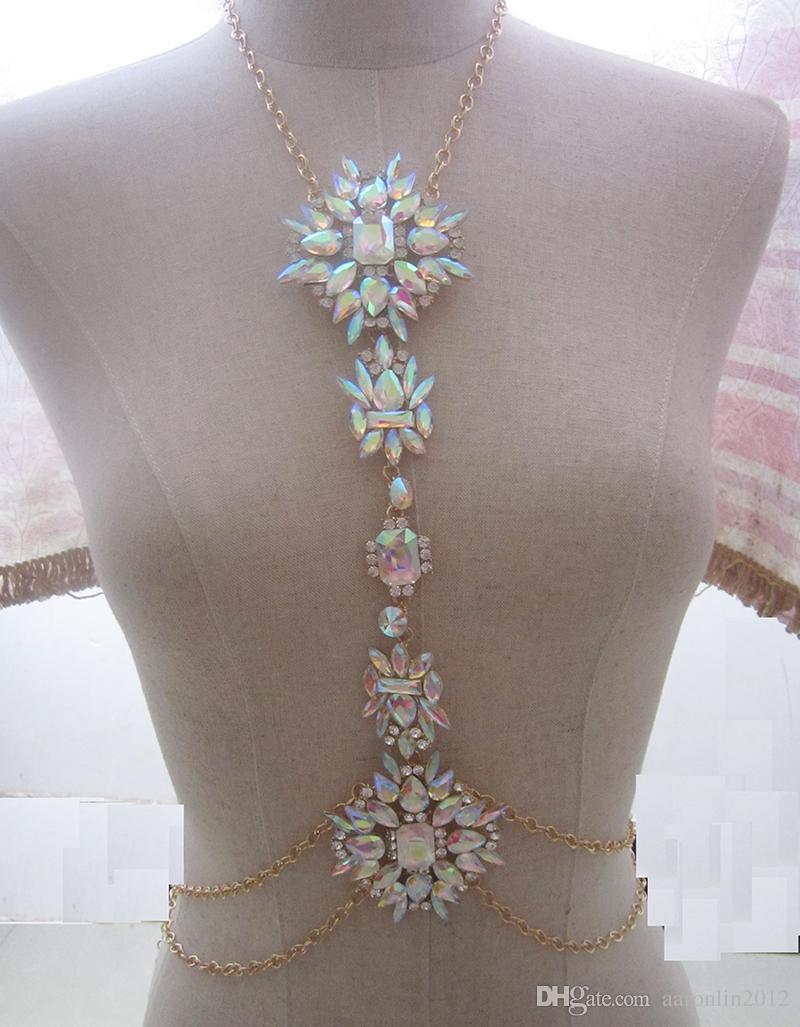 Femmes Sexy AB cristal Chaînes de corps bijoux Taille Bikini plage ventre chaînes Harnais pendentif en or colliers sable accessoires femme bijoux