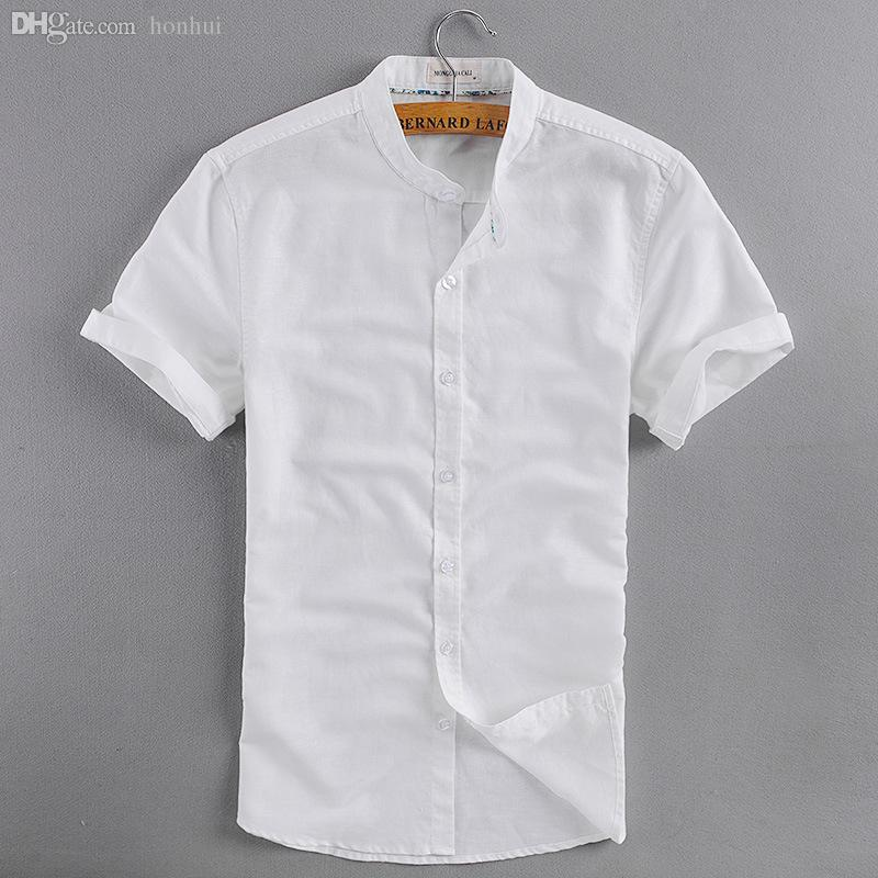 2017 Wholesale Men'S Mandarin Collar Short Sleeve Summer Linen ...