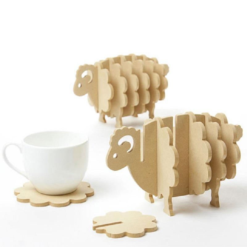 Wholesale- Non-slip Wooden Coasters Creative Place Mat/Office Supplies Coffee Cup Mat Home Decor DIY Handmade Coaster Simple Animal Shapes