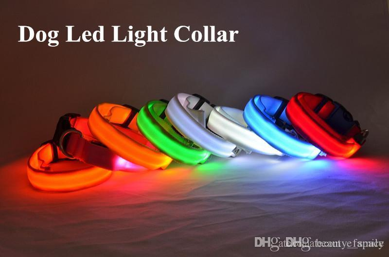 D07 Free shipping Pet Dog Collar Pet nylon collar luminous collar LED flash luminous collars