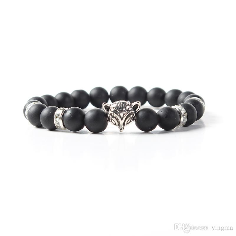 New male bracelet Natural Stone Alloy silver gold Animal fox 8mm beads with volcanic rock men women Jewelry Lava Yoga Bracelets gift
