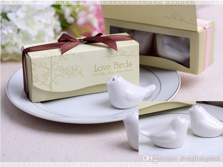 =1 box new Love Birds In The Window Ceramic Salt & Pepper Shakers Wedding Favor For Party Gift with retail gift box H076