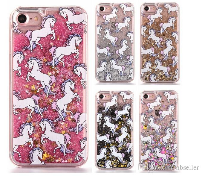 For Iphone 7 7plus unicorn Liquid Quicksand Moving Glitter case sparkle London Bling floating star Phone Cover i6 6S Plus 5S note5