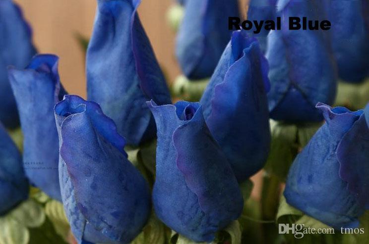 Atacado MOQ azul flores artificiais Fresco Real Toque rose Bud azul royal decorações de casamento e buquê