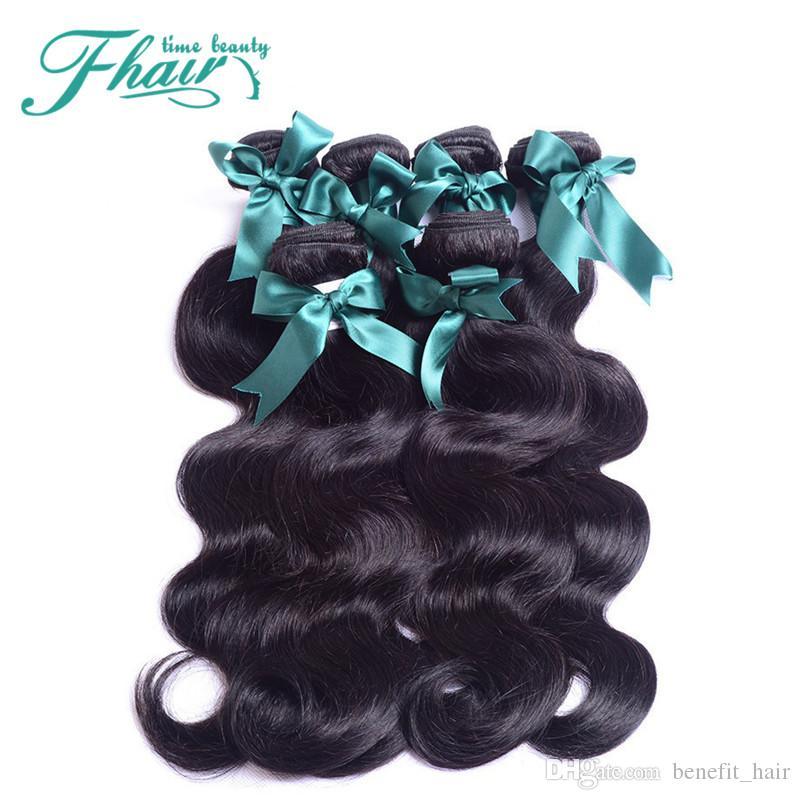 9A 100% Trama de cabello humano peruano negro natural 10-30 pulgadas 3Bundles / Lote Cuerpo sin procesar Onda del pelo Extensiones Dyeable