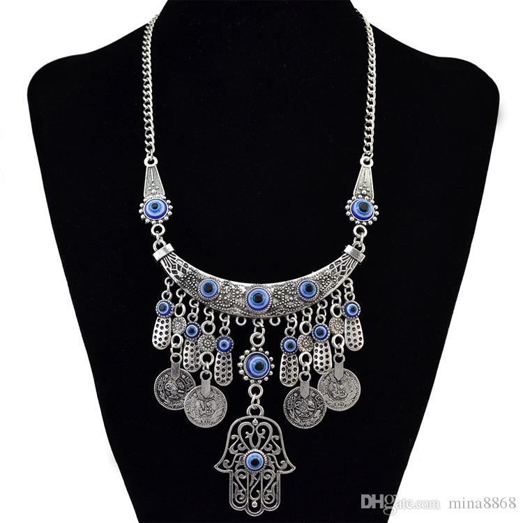 Vintage Coin Tassel Chain Fatima hamsa Hand Pendants Necklace Luck Hand Turquoise Palm nice Necklace collares DHN102