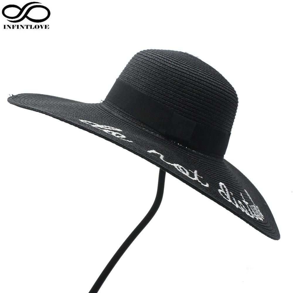 Wholesale INFINITLOVE Sequin Letter Black Ribbon Women Lady Elegant Large  Brim Straw Floppy Summer Fashion Vacation Travel Casual Sun Hat Wedding Hats  Baby ... b00d761f2cae