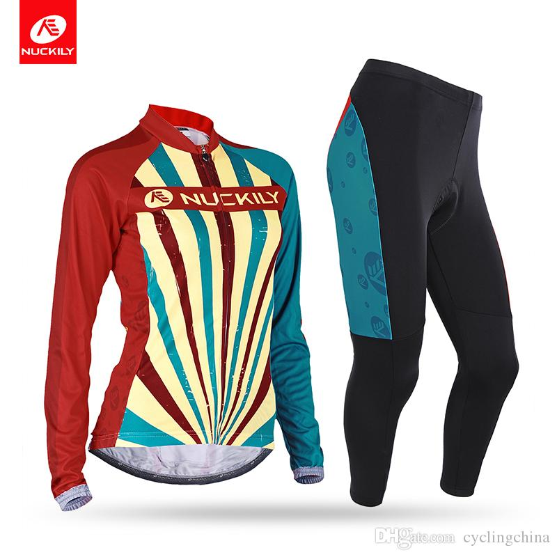 NUCKILY Women S Long Sleeve Cycling Clothing With Foam Pad Riding Tights  For Spring Autumn CJ129CK129 Cycling Underwear Merino Cycling Jersey From  ... 90bb95598