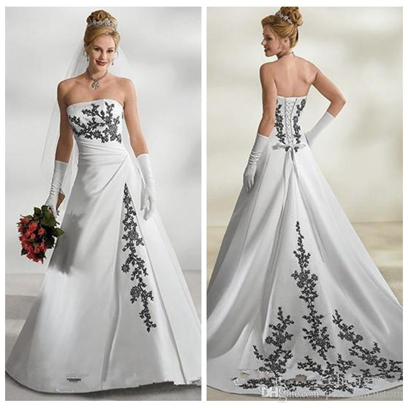 Discount Strapless Black And White Wedding Dresses Satin Chapel ...