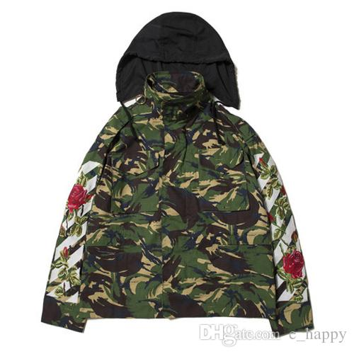 Off White Camo Field Jacket Men Women Rose Arrows Embroidered ...