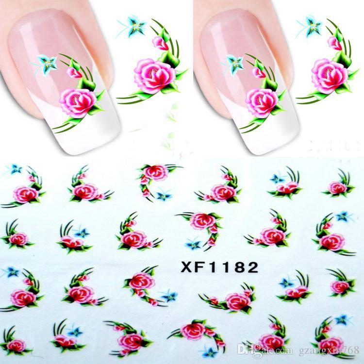 Butterfly Style Water Transfer Decals Sticker Purple Flowers European Style Nail Art Sticker
