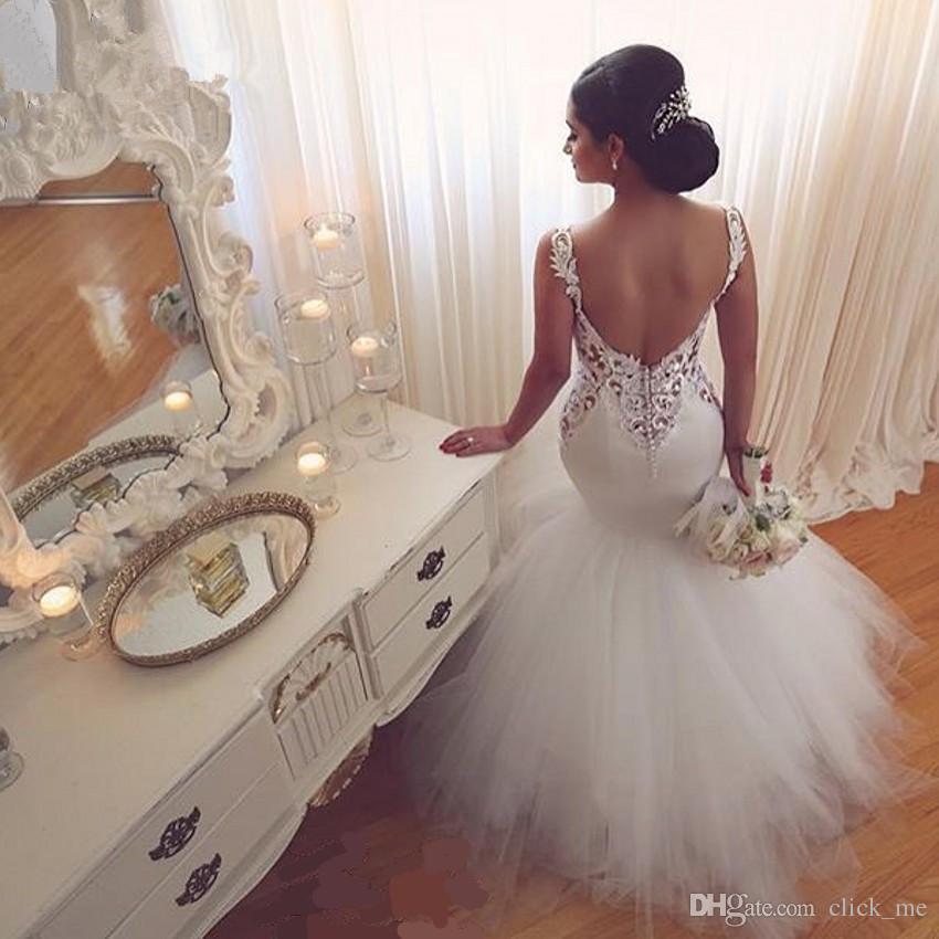 Vintage Sirena Vestidos de novia Low Back Aplicaciones de encaje de cuello en V Aplicaciones sin respaldo Vestidos de boda de Backless Tulle Sweep Tren Playa blanca Vestido nupcial