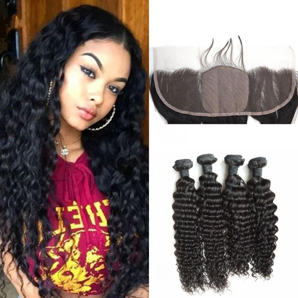 5a9d420f3a35f8 Silk Base Frontal Bundles Unprocessed Malaysian Curly Hair With Closure  Middle Part Silk Base Frontal Closure 13x4 G EASY DHL FREE Human Hair  Extension ...