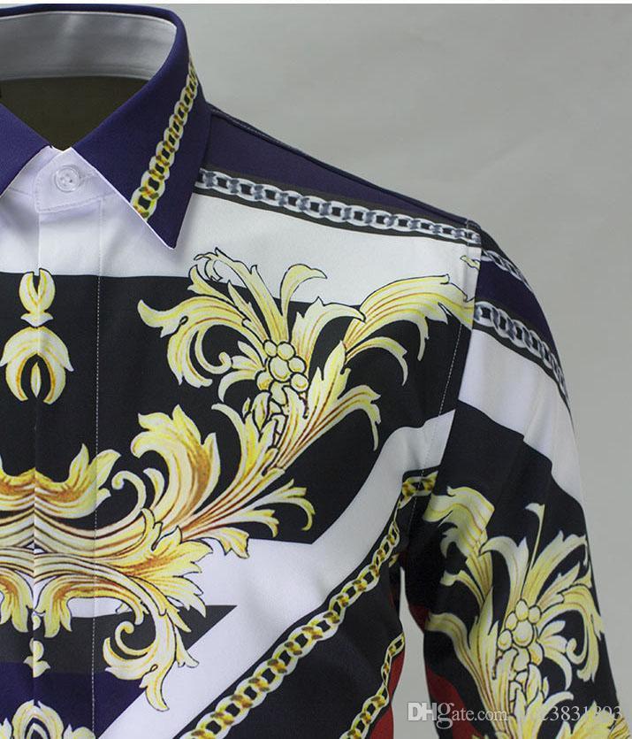 Мужчины с длинным рукавом рубашки Королевский спортивный стиль Printes повседневная рубашка Европейский и американский стиль тонкий Camisa Masculino
