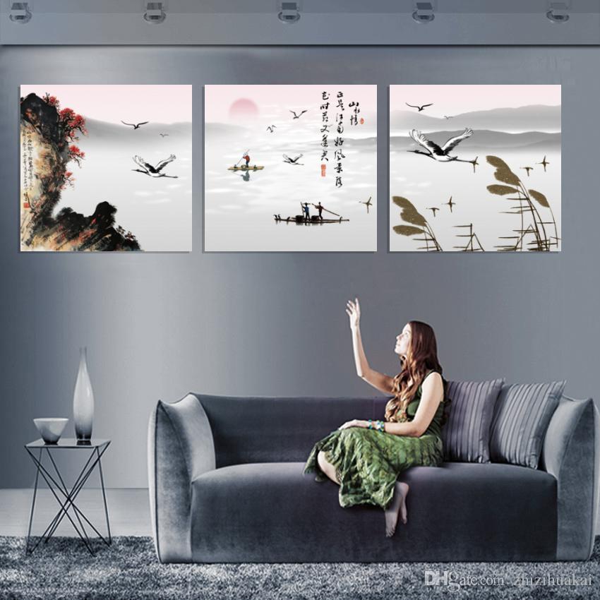 무료 배송 unframed 사진 캔버스 인쇄 중국어 스타일 유화 매화 산 배 문자 애플 티 폭포 연꽃