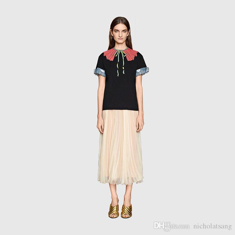 티셔츠 여성 2016 여름 새로운 장식 조각 활 자수 크리스탈 버클 스트라이프 러블 칼라 짧은 꽃잎 슬리브 블랙 스트라이프 티셔츠