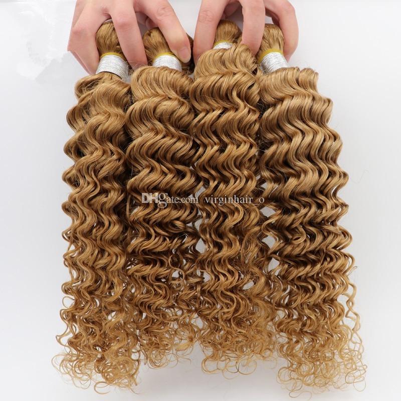 Peruvian Vague Profonde Cheveux 3 Bundles Miel Blonde Péruvienne Profonde Cheveux Bouclés 10